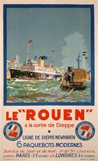 le rouen à la sortie de dieppe - ligne de dieppe-newhaven by bernard raoul lachevre