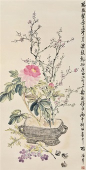 花卉 立轴 设色纸本 by chen banding