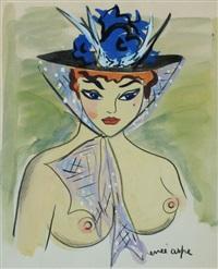 jeune femme au chapeau by renée aspe