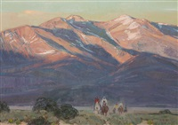sunset on taos mountain by john moyers