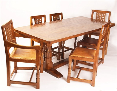 Mouseman Oak Dining Table And Six Chairs By Robert Thompson ...