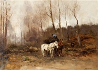 houthakkers met paard en wagen by willem george frederik jansen