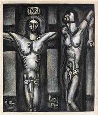 le christ en croix accompagné d'un des deux larrons (from miserere) by georges rouault