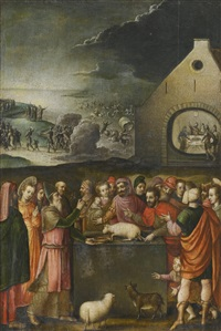 scenes from exodus: the sacrifice of the passover lamb, with moses closing the path through the red sea and the egyptian army in the distance by flemish school (16)