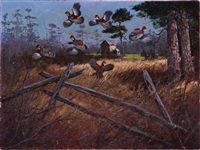 covey of quail taking flight by kenneth smallwood