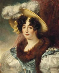 portrait of a lady, half-length, in a fur-trimmed blue and white dress with a plummed hat, before a red curtain by henri françois riesener