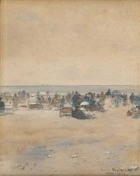 jour de congé sur la plage de ramsgate by emile hoeterickx