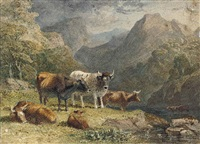 cattle in a highland landscape (+ cattle and horses; 2 works) by robert hills