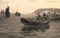 cobles at cullercoats bay by joseph jobling