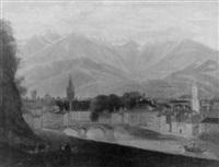 schweizer stadtansicht von bergiger kulisse by isidore dagnan
