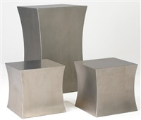 tall flared pedestal (+ 2 smaller pedestals, irgr; set of 3) by chris lehrecke