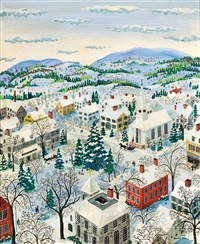snow-covered town by maxwell mays
