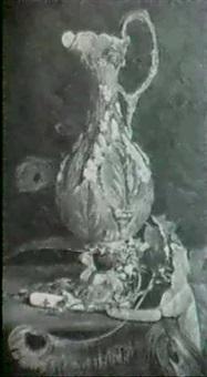 stilleben mit palissy vase, mit efeu, perlmuttmesser by john edward newton