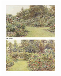 garden arch with roses and the rose garden (pair) by ernest arthur rowe