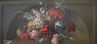 floral still-life in niche by arthur chaplin