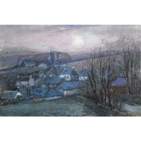 village at dusk by william edwin atkinson