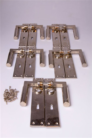 türdrücker mit langschild set of 5 by walter gropius