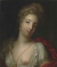 portrait of a lady, bust-length, in a white chemise and red wrap by henri gascars