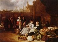 a market scene by sybrand van beest