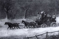 the exeter-london royal mail in a snowstorm by h. s. cottrell