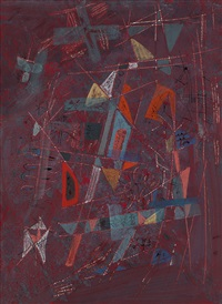 abstract composition (red) by louis schanker