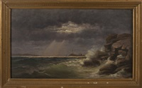 stormy coast off boston light by william formby halsall