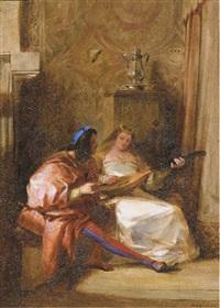 un intérieur médiéval avec un homme donnant une leçon de luth à une femme by jules-robert (m. auguste) auguste