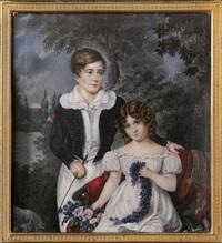 george 2. duke of cambridge und seine schwester augusta karoline vorlaubäumen im hintergrund eine kirche by karl von saar