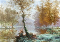 french village with bridge, autumn by albert gabriel rigolot