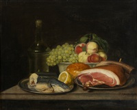 still-life with ham and fruit by jacob samuel beck