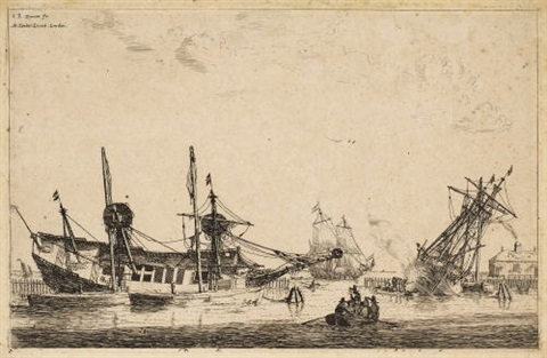two vessels careend for caulking the hall zwei zum kalfatern kielgeholte schiffe by zeeman