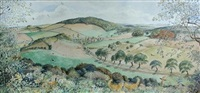 looking across wiveton down to wiveton valley, norfolk by cecil leslie