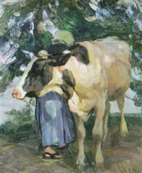 magd mit kuh by emanuel hegenbarth