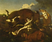 wild boar and dogs by carl borromaus andreas ruthart