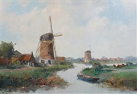 dutch windmill scene by hermanus koekkoek the younger