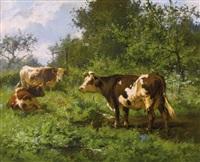 weidende kühe auf sommerlicher wiese by aymar (aimard alexandre) pezant