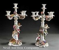 candelabras (pair) by von schierholz porzellanmanufaktur