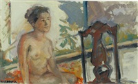 nude seated by a window by miriam ruchames