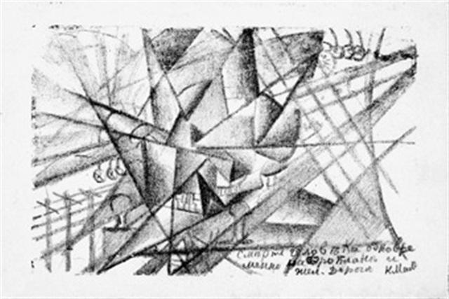 simultaner tod eines mannes in flugzeug und in der eisenbahn by kazimir malevich