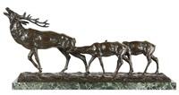 cerf et deux biches by joseph emile renier