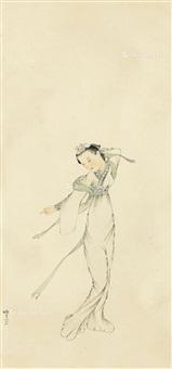 仕女 立轴 设色纸本 by pang xunqin