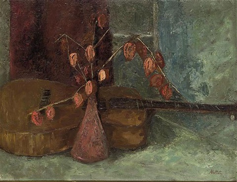 red tulip buds with a guitar by yvonne mottet