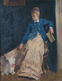 a lady with dog by charles louis verwee