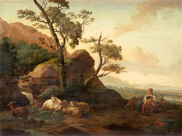 pastoralt landskap med herdinna och boskap by karel dujardin