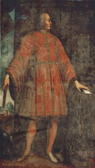 portrait of jacques coeur (bourges c. 1395-1461 chios), standing full-length in an interior, wearing a red fleur-de-lys embroidered costume, a town beyond by jean fouquet