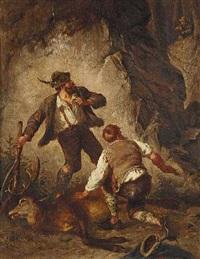auf frischer tat ertappt: zwei wilderer mit erlegtem hirsch werden von einem jäger überrascht by max correggio