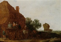 an open landscape with waggoners halted outside an inn, a haywain beyond by maerten fransz van der hulst
