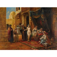 orientalische strassenszene mit nackter sklavin by v. cortella