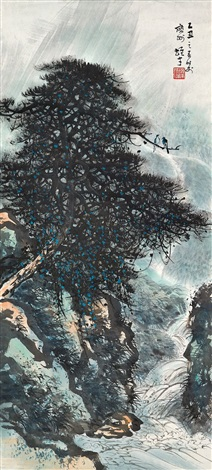 山水in birds on pine tree by li xiongcai