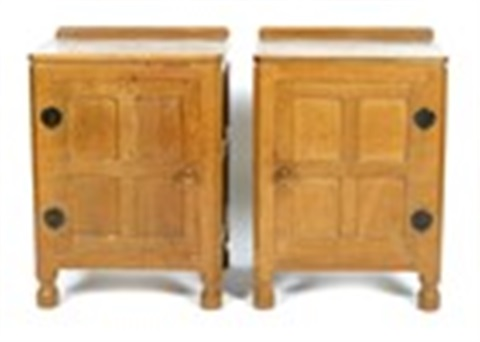 A Pair Of Robert Mouseman Thompson Oak Bedside Cabinets By